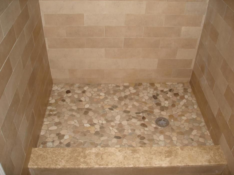 Bathroom, : Awesome Bathroom Design Idea Of Shower Stall With Beige Pebble  Shower Pan And