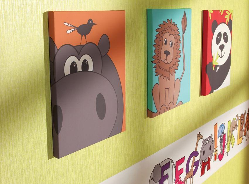 Animal Childrens Kids Bedroom Nursery Canvas Wall Art Pictures Set ...