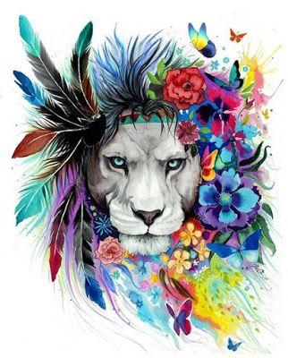 Znalezione Obrazy Dla Zapytania Kwiaty Kolorowe Tatuaze Colorful Lion Lion Art Tattoos