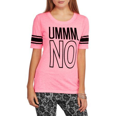 Juniors' Ummmm, No Graphic Hockey Tee, Size: Small, Pink