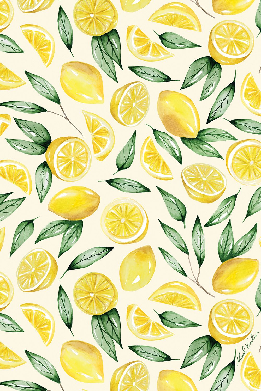 Lemon Pattern Maral Varolian Watercolor Pattern Design Wallpaper Iphone Summer Summer Wallpaper