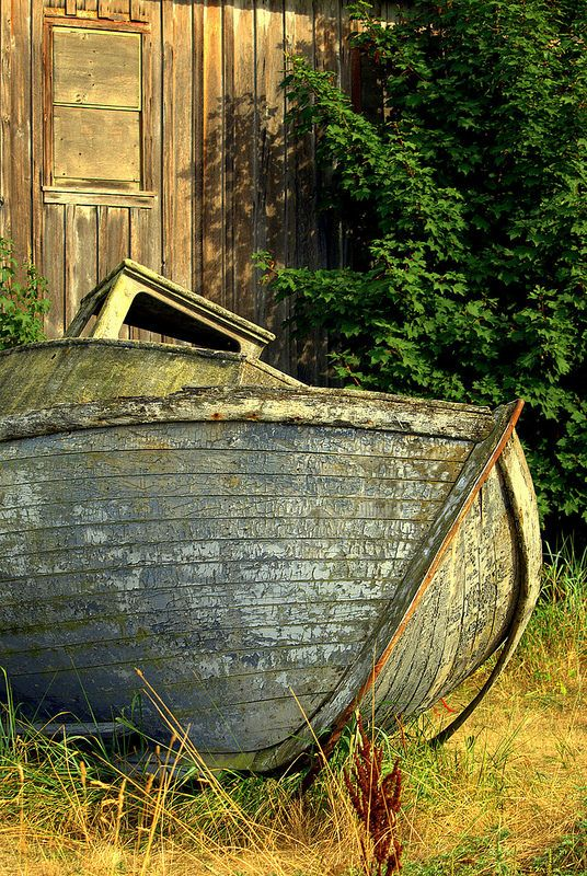 ˚Faded wood and remnants of an old cannery fish boat - Washington