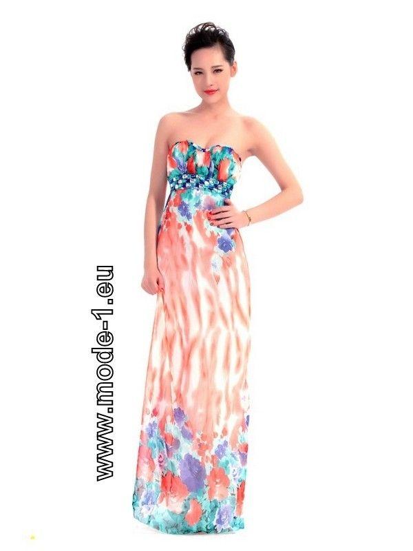 Schulterfreies Sommer Kleid Bunt mit Blumenmuster | Cocktailkleider ...