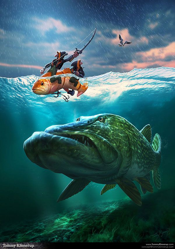 Fish art by tommy kinnerup illustration fantasy for Savage fishing gear