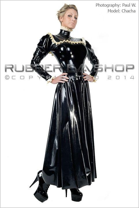 Long Flared Rubber Governess Dress - Rubber Dresses - Rubber Eva