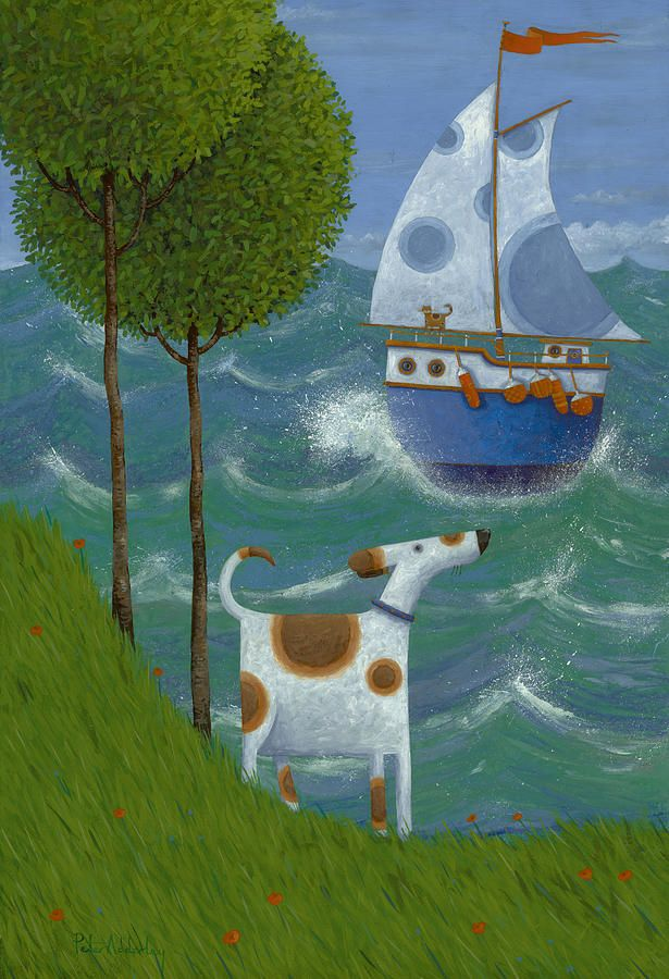 Sailing Away Art, Seaside art, Naive art