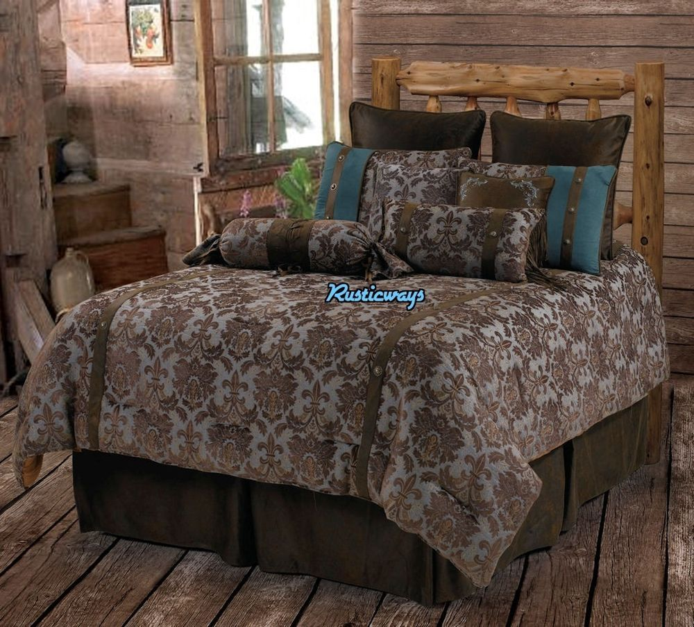 Western rustic country fleur de lis comforter set turquoise comforter rustic decor and bedrooms - Fleur de lis comforter ...