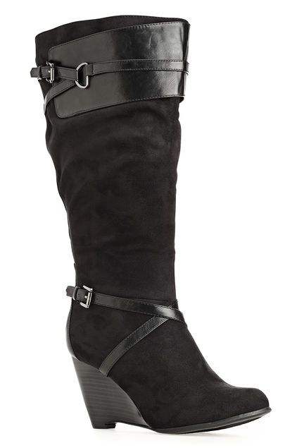 d2186d2058e plus size boots. Kaye Faux Suede Wedge Boot-Wide Width Wedge Boot-Avenue