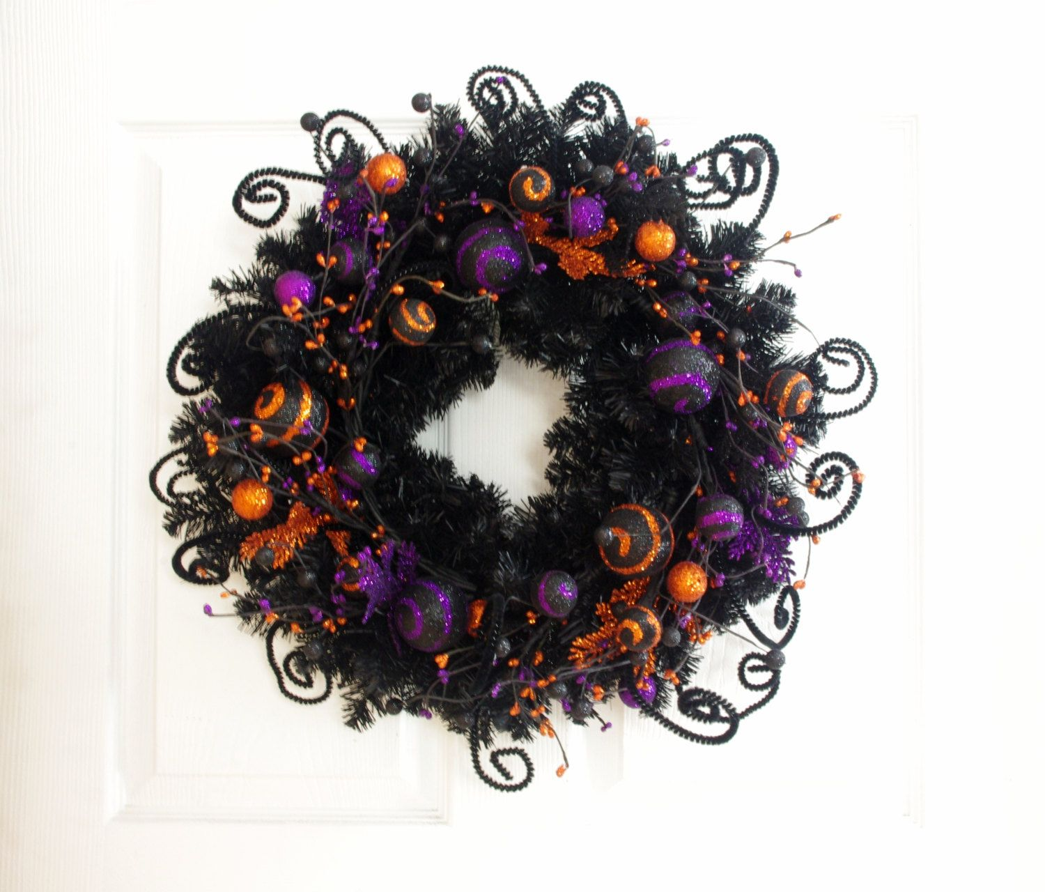 Whimsical Halloween Wreath * Halloween Decor * Orange Purple and - Whimsical Halloween Decorations