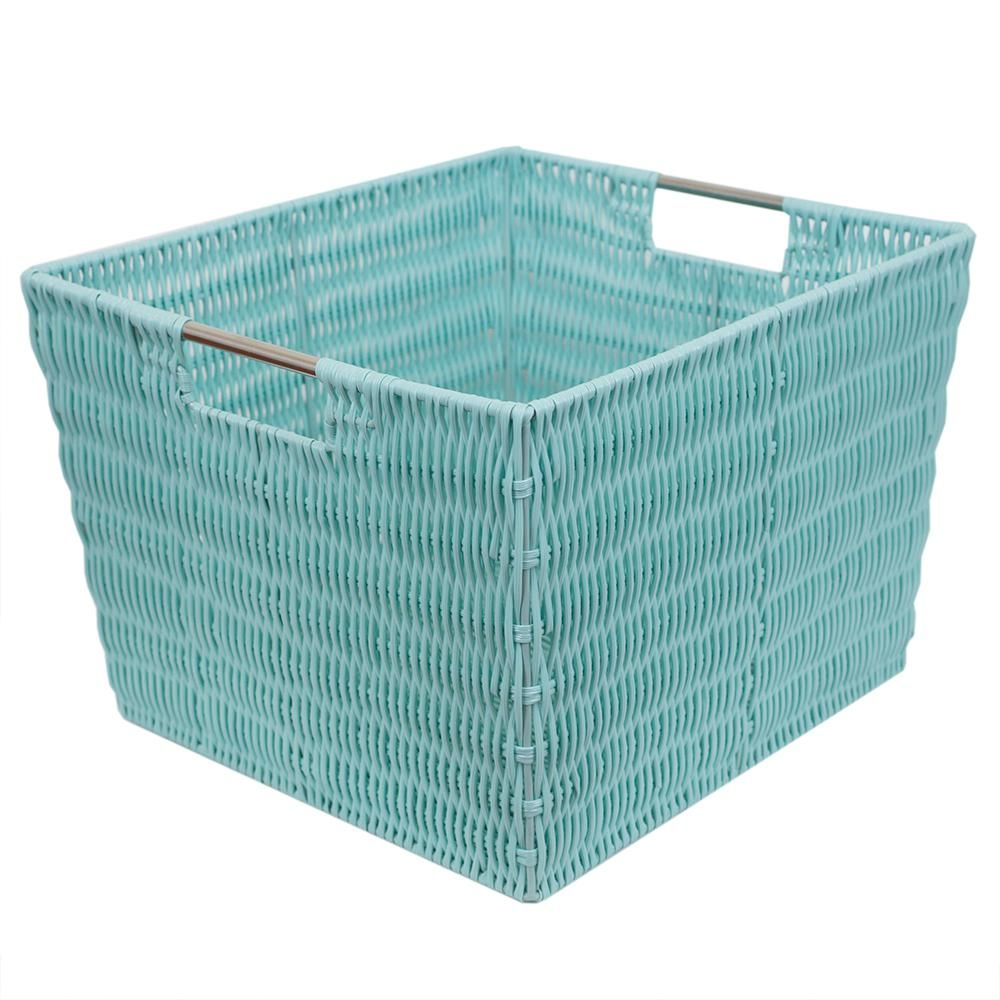 Home Basics Intricate Decorative Weave 13 In X 10 In Turquoise Basket In 2019 Large Storage Baskets Storage Baskets Fabric Storage Bins