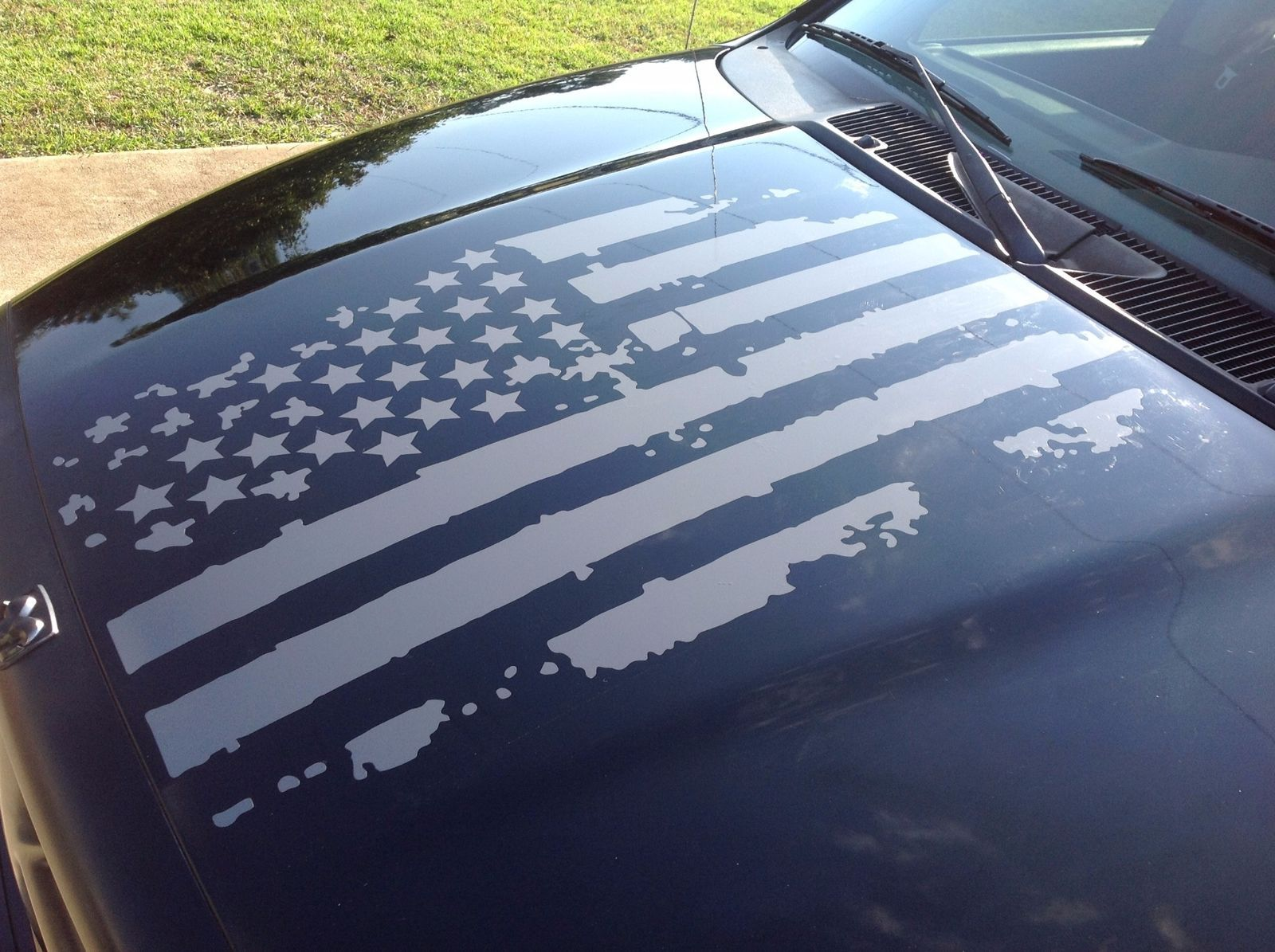 Details About Distressed Usa Flag Hood Vinyl Decal Worn