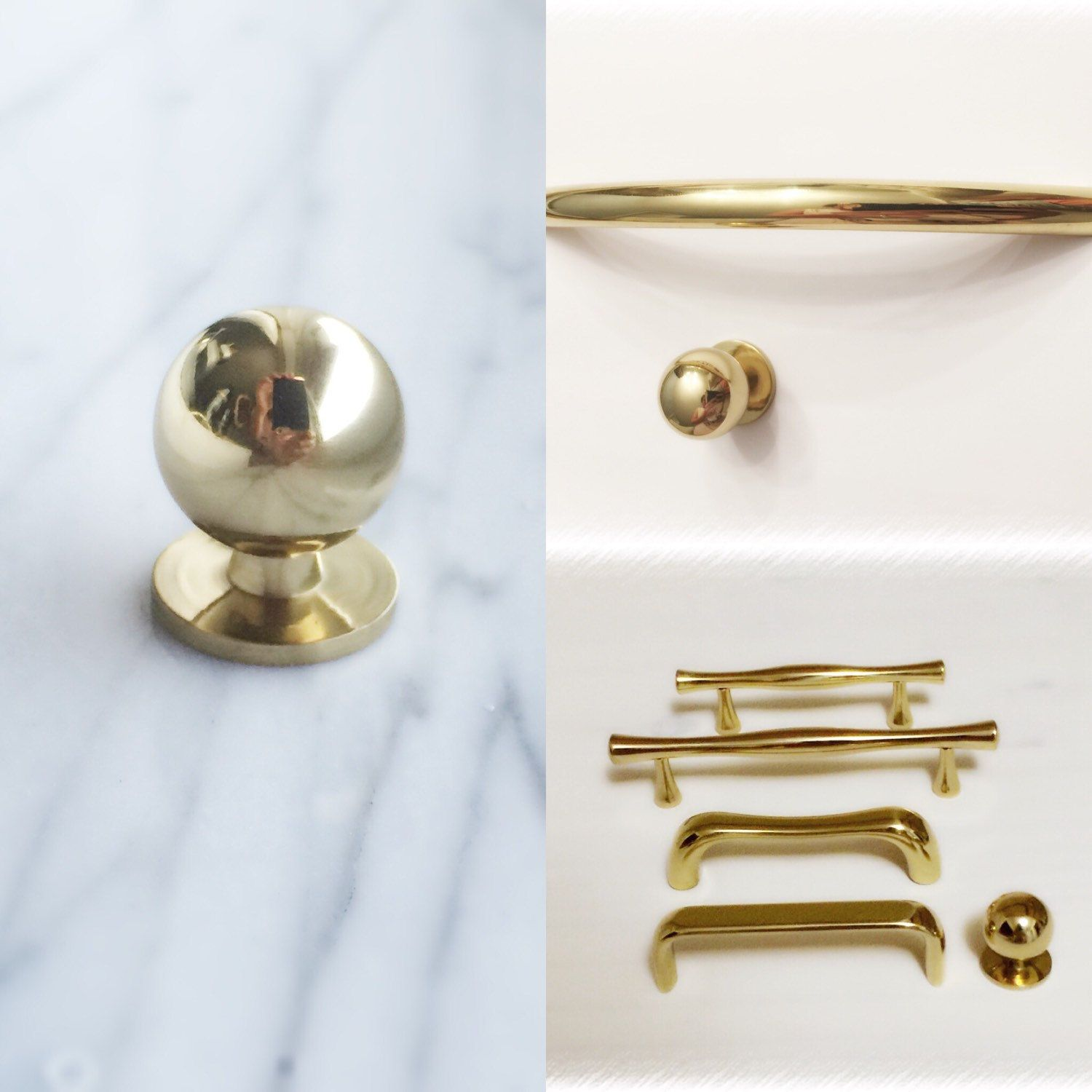 Polished brass hardware from ForgeHardwareStudio Etsy starting