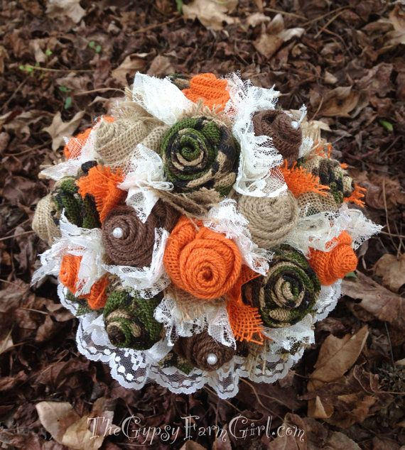 Camouflage Choose Your Colors Fabric Flowers Rustic Wedding Alternative Wedding Bouquet Camo Wedding Bouquet Fall Wedding