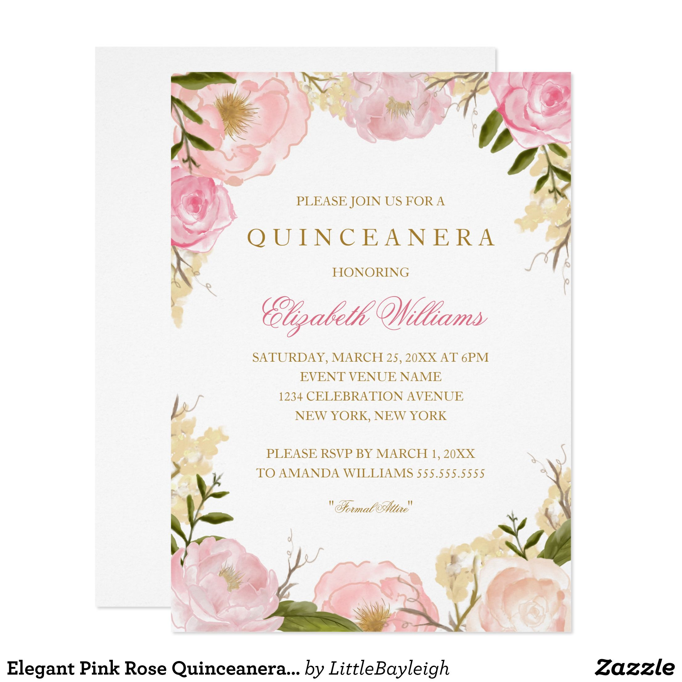 Elegant Pink Rose Quinceanera Invitation | Pinterest | Quinceanera ...