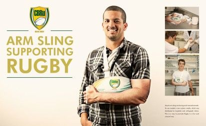 Confederação Brasileira de Rugby: Arm Sling Supporting Rugby Usual arm sling are boring and monochromatic. So we created a new custom media,...