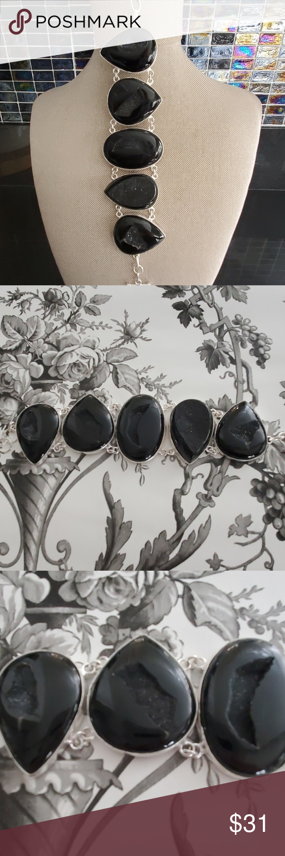 Gorgeous Statement Bracelet OMW! This is a Gorgeous Statement Bracelet This is Not A Dainty Piece  Deep Midnight Black Color Largest Stone Approx 2