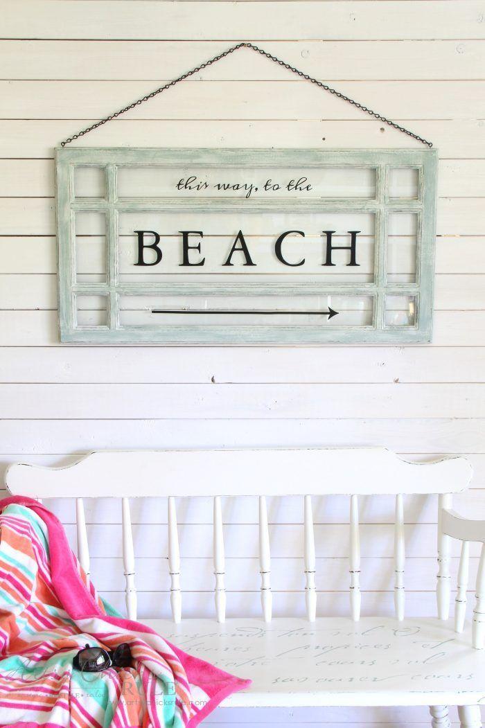 Old Window Beach Sign   Coastal Decor   Pinterest