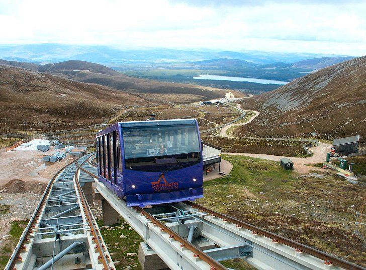 Cairngorm Mountain Funicular -- goes to the top of the Cairngorm Mountains near Aviemore, Scotland. Beautiful view from the top!