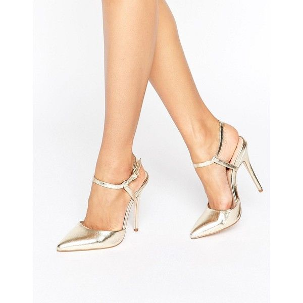 London Rebel 2 Part Court Shoes (£38) ❤ liked on Polyvore featuring shoes, pumps, gold, ankle strap high heel pumps, ankle strap pumps, ankle strap pointed pumps, metallic pointed toe pumps and metallic shoes