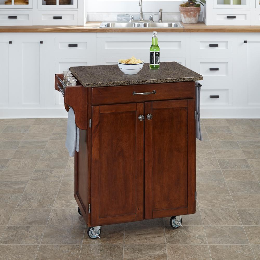 Home Styles Cuisine Cart Cherry Kitchen Cart With Quartz Top 9001 0708 Kitchen Cart Small Kitchen Cart White Kitchen Cart