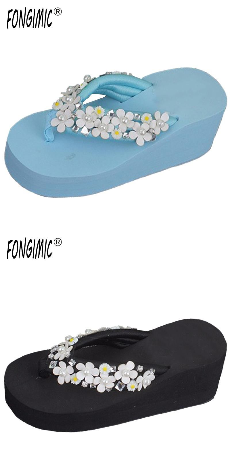 019cc3d285ab81 Fashion Bohemia Flowers Women Beach Summer Sweet All-match Slip- Resistant Slippers  Platform Wedges Sandal Flip Flops Shoes