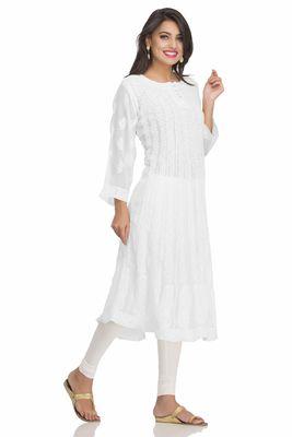 9e085fcce4 White hand embroidred faux georgette lucknow chikankari Party Wear Anarkali Kurti  white kurtis, white kurtis for ladies, white embroidered kurtis, ...