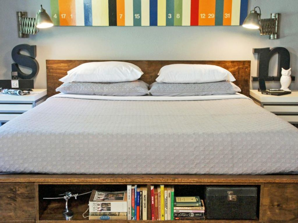 wooden platform bed featured bookshelves platform beds mattress