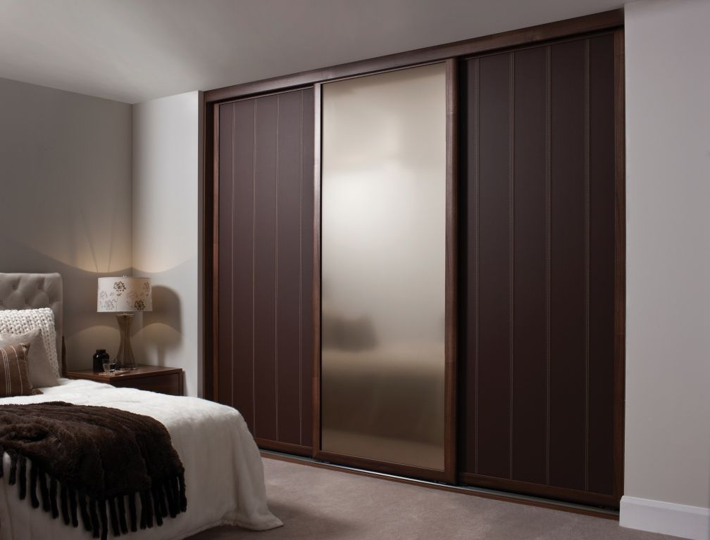 Luxury Bedroom with Brown Wood Sliding Closet Doors and Walk in Wooden  Closet Mirror Sliding Ideas  Unique Side Chair White and Dark Brown Wood  Pla. Luxury Bedroom with Brown Wood Sliding Closet Doors and Walk in