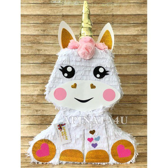 New! Baby Unicorn Pinata with Pink Roses 2-D Magical Unicorn Theme ...