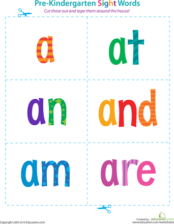 Pre Kindergarten Sight Words A To Are Preschool Sight