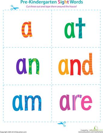 PreKindergarten Sight Words A to Are Kindergarten