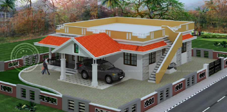 Single Floor 2 Bedroom House Designs Elevation Kerala House Design House Roof Design Bungalow House Design