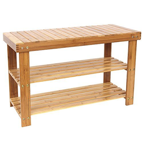 2-Tier 100/% Natural Bamboo Wood Shoe Rack Bench Shoe Organizer Storage Shelf