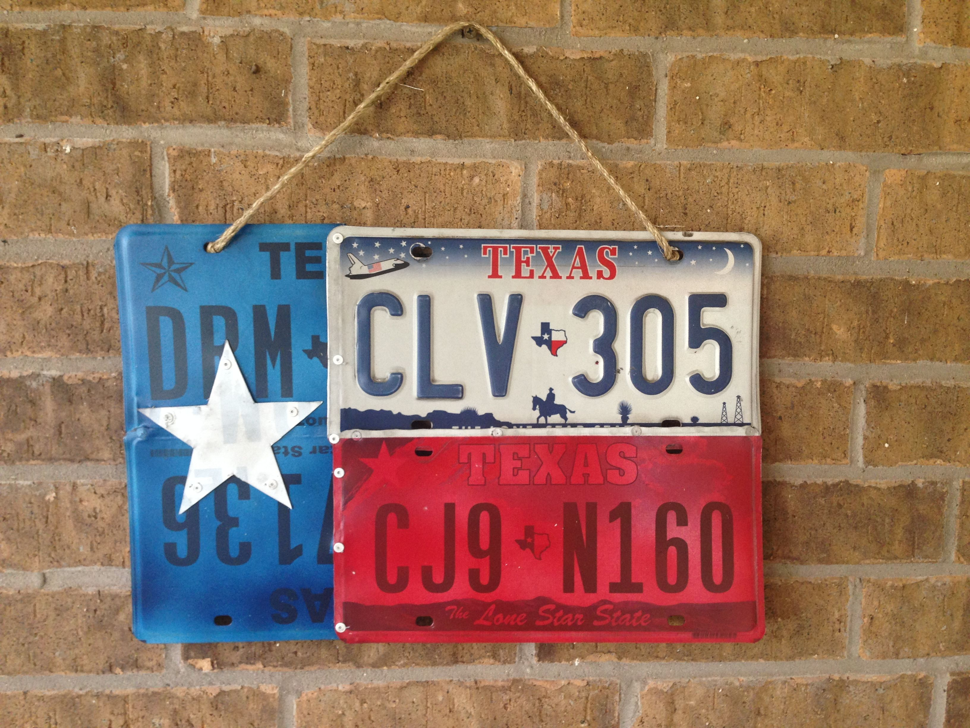 Texas Flag Made From Painted License Plates License Plate Crafts Plate Crafts License Plate