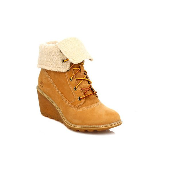 Timberland Womens Wheat Amston Roll Top Wedge Leather Boots Mid Boots (£102) ❤ liked on Polyvore featuring shoes, boots, women, yellow, wedges shoes, real leather boots, yellow boots, wedge heel shoes and yellow wedge shoes