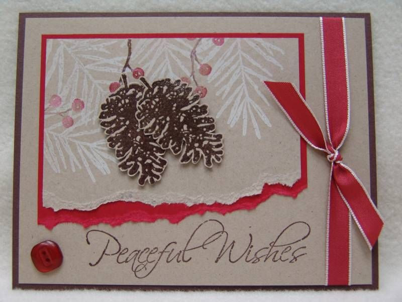 This is probably my all time favorite Christmas set! The pinecones were stamped with choc craft, embossed with clear ep, cut out and popped up with foam tape. The branches were stamped with craft white and I inked the berries stamp with choc and real red markers, then added to the branches. The sentiment was done with classic choc chip and I attached the taffeta ribbon and PTI button.