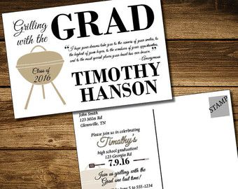Grilling With The Grad  Graduation Invitation Printable  Edit