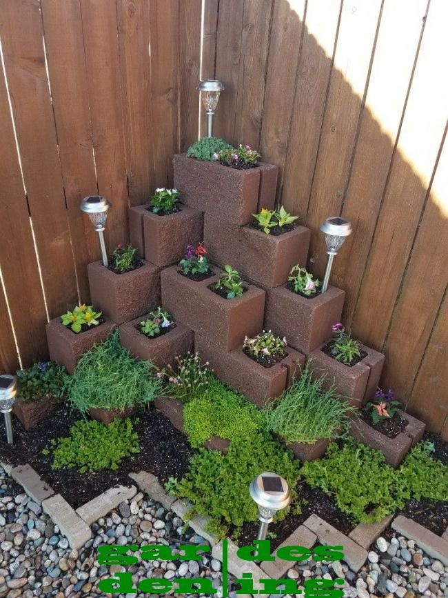 Corner brick planter | Diy garden fountains, Brick planter ...