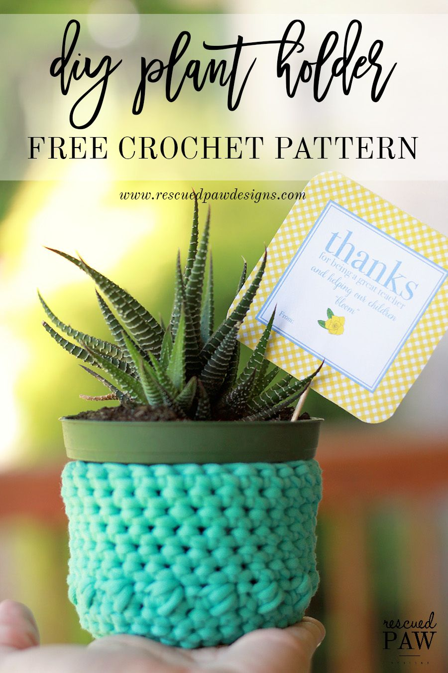 DIY Free Crochet Plant Holder Pattern by Rescued Paw Designs | Diy ...