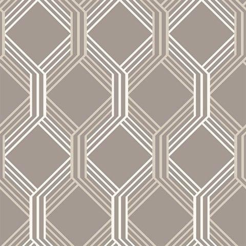 Linkage Brown Trellis Wallpaper