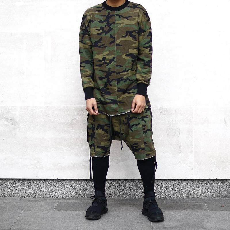 Olrain   Hip Hop Mens Military Camo Camouflag Plus Kanye West Tyga Justin Bieber Shorts