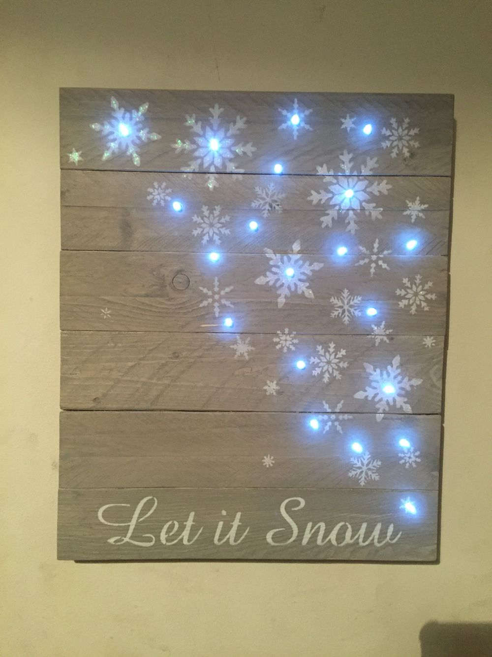 let it snow light up pallet wood sign