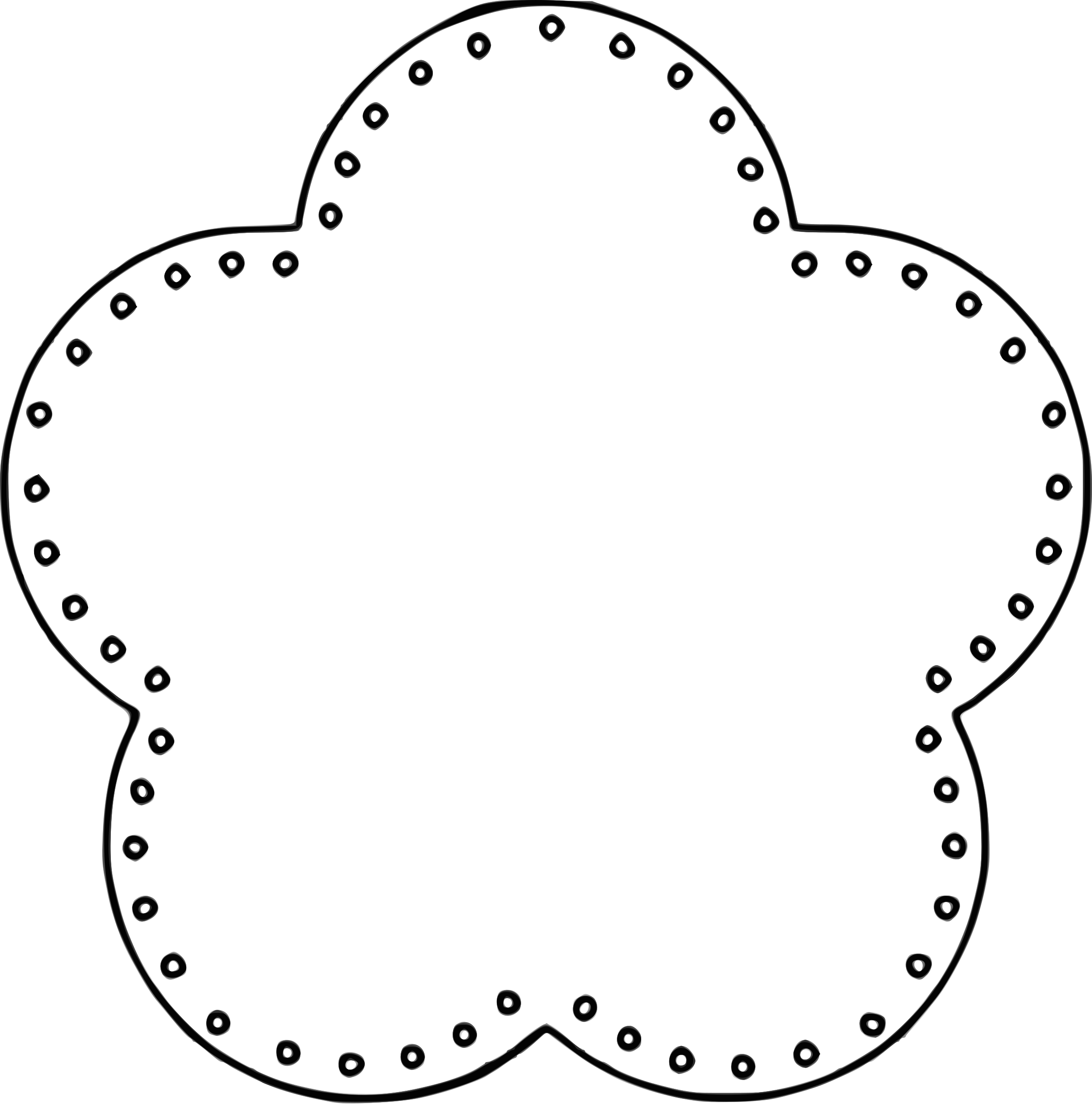 Flower 5 Scallop Circle Background, eyelets by @BAJ