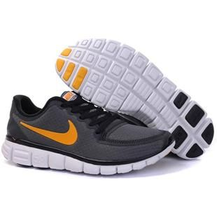 Womens Nike Free 5.0 V4 Dark Grey Yellow Shoes