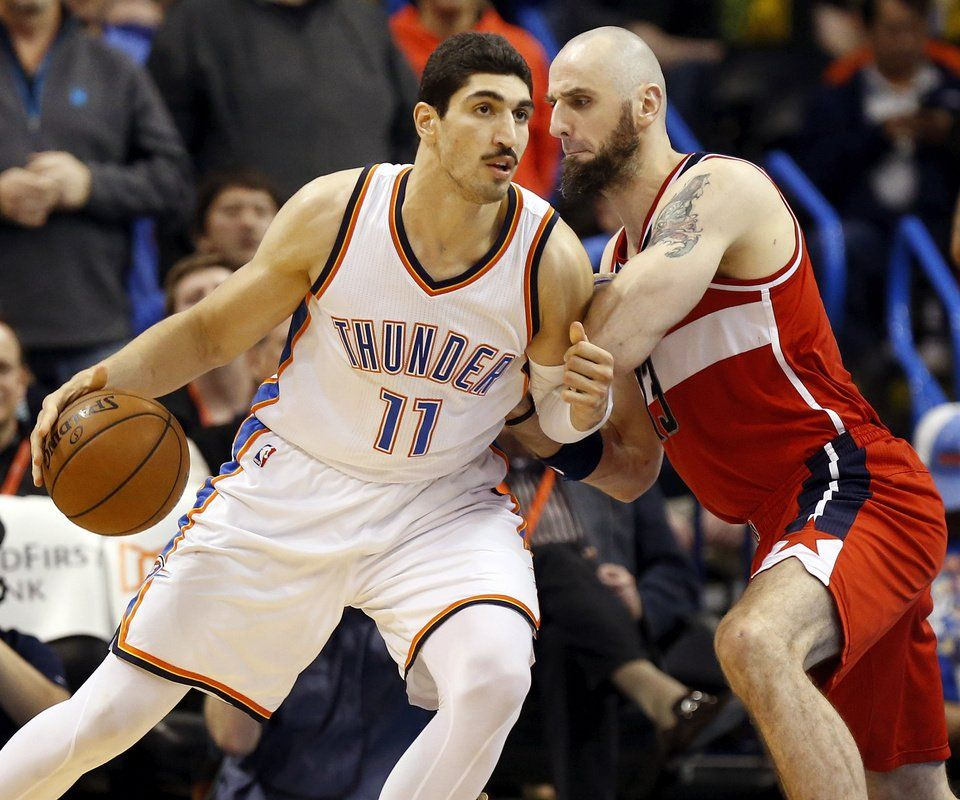 Oklahoma City's Enes Kanter (11) works against Washington's Marcin Gortat (13) during an NBA basketball game between the Oklahoma City Thunder and the Washington Wizards at Chesapeake Energy Arena in Oklahoma City, Monday, Feb. 1, 2016. Oklahoma City won 114-98. Photo by Nate Billings, The Oklahoman