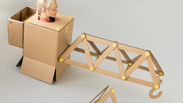 A Toy Kit For Little Architects And Engineers Cardboard Toys Diy Mechanical Toys Kids Design