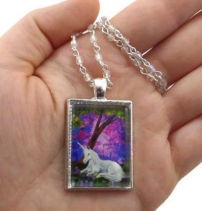 REPIN: Beauty - Fantasy Art Pendants - By KK Swann - White Unicorn in Twilight Forest - Handmade Necklace