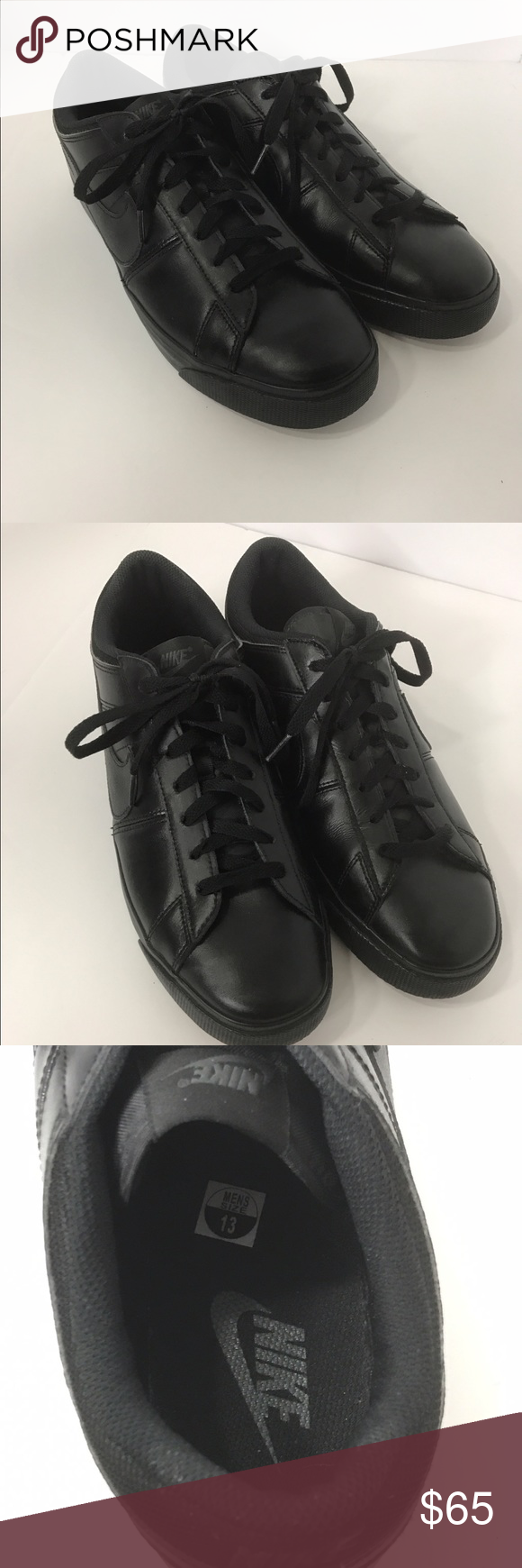 22b8d5f1fae2 NIKE Men s MATCH SUPREME LEATHER Black SHOES US 13 Nike Match Supreme Black Leather  Shoes Mens Size 13 631656-020 Excellent Condition Only been worn a Few ...