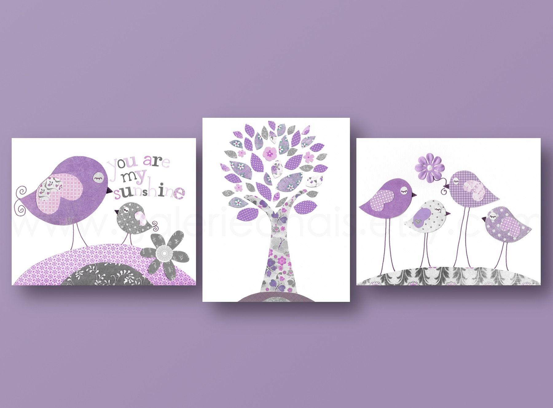 Lot de 3 illustrations art pour enfant et bebe mauve et gris ...