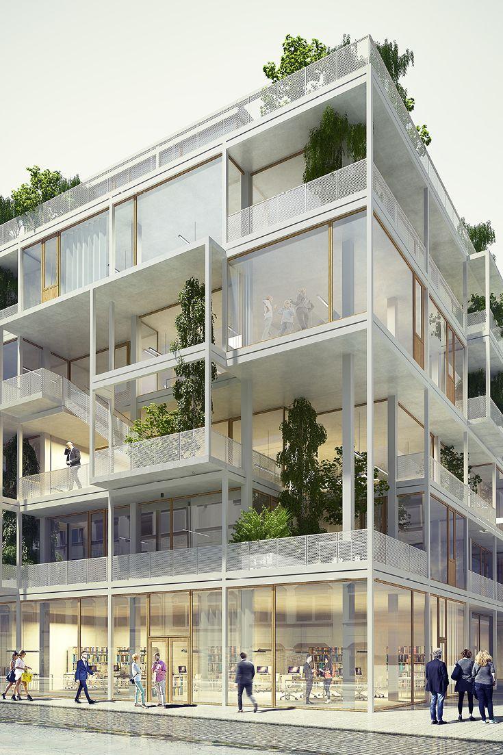 Wohnen Und Arbeiten Im Dreidimensionalen Grid Architektur Konzept Architektur Baustil